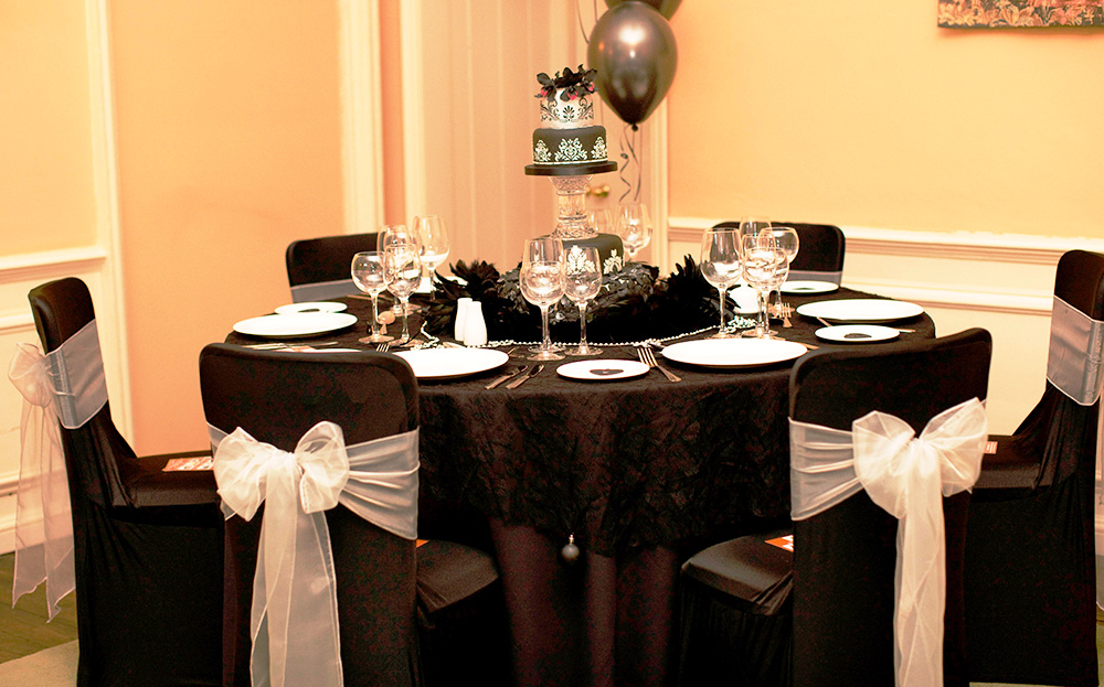 Black chair cover table